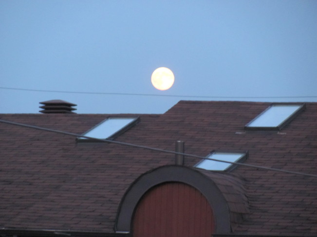 Supermoon with blue sky Montreal, QC