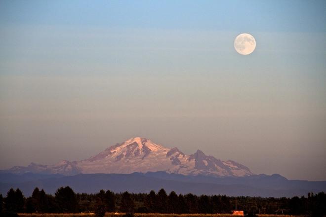Moon over Mt Baker