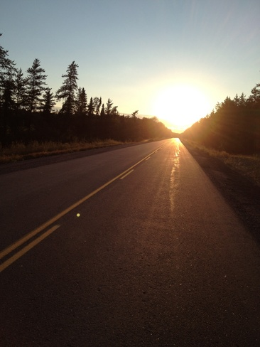 Evening road ride. Sioux Lookout, Ontario Canada