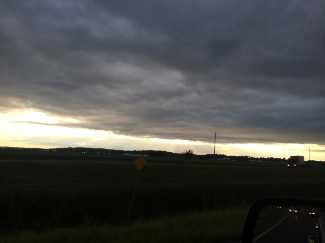 rain clouds moving out Beeton, Ontario Canada