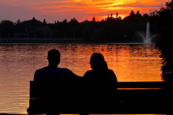 Enjoying the warm evening sunset on Wascana Lake, Regina, SK. 2900 Wascana Drive, Regina, SK S4P 4K6, Canada