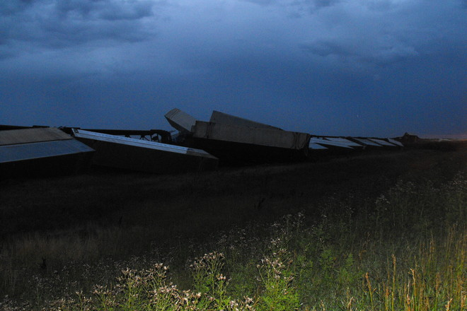 Train wreck Hwy, 1 east of Swift Current East of Swift Current