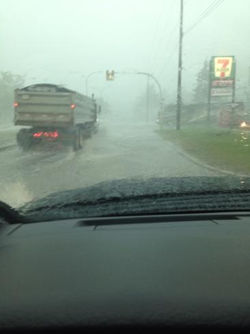 flooding the Brandt st. in stei Steinbach, Manitoba Canada