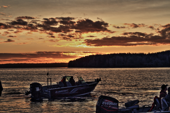 sun rise on Red Lake Fall Classic walleye tournament Red Lake, ON