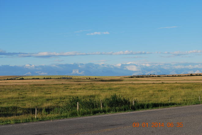 Old Chief Mountain surrounded by clouds, Morning of Sept. 1, 2014 Cardston County, AB