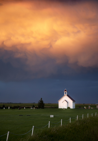 Country Church and Storm Clouds Tuxford, SK S0H 4C0, Canada