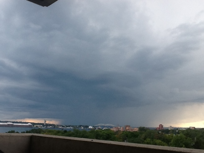 Here comes the Thunder storm right on time according to the weather network Sault Ste. Marie, ON