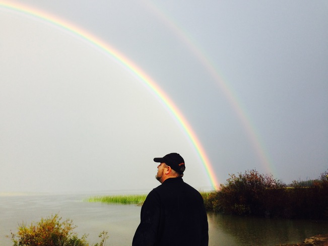 Double rainbow over Meeting Lake. Meeting Lake, Spiritwood No. 496, SK