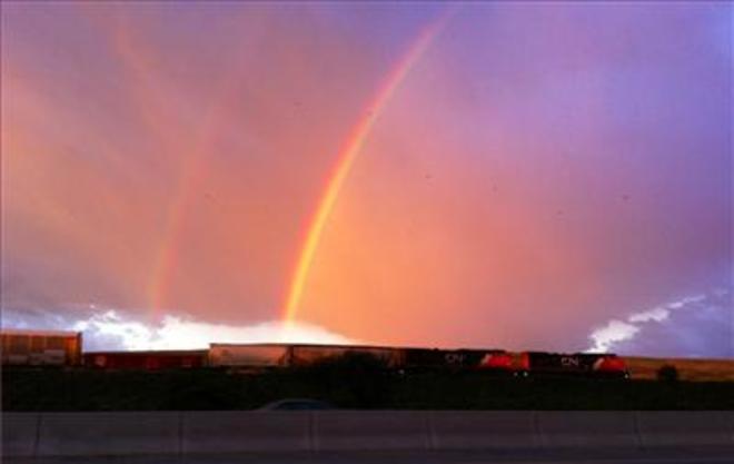 Double morning rainbow Saskatoon, SK