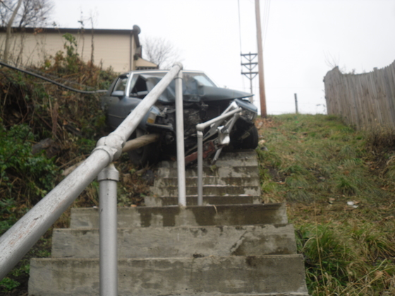 elderly driver loses control in charleroi