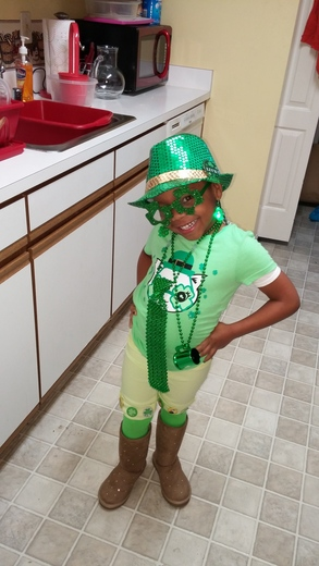 4 year old Jordyn Charles dress for St. Patrick Day...