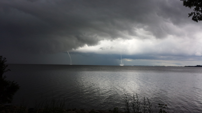 Twin Water Spouts over Lake Winnipeg at Matlock