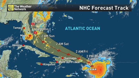 News PHOTOS Tropical Storm Erika Turns Deadly In Dominica The - Us weather network map