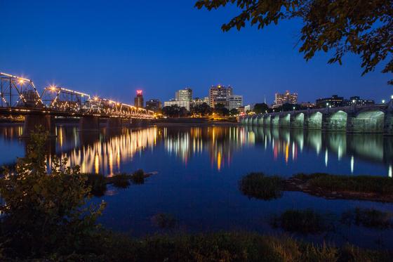 City lights along the Susquehanna