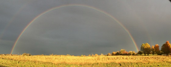 Picture of fall rainbow by Dean fountain