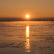 Lever de soleil sur le fleuve par -20C