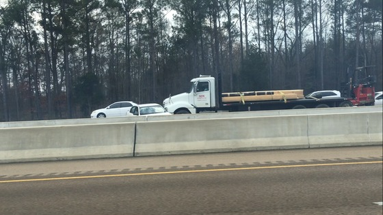 Wreck on 20 East Right Before Airport Exit