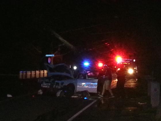 Holliston street medway: 1 injured: car hits telephone pole