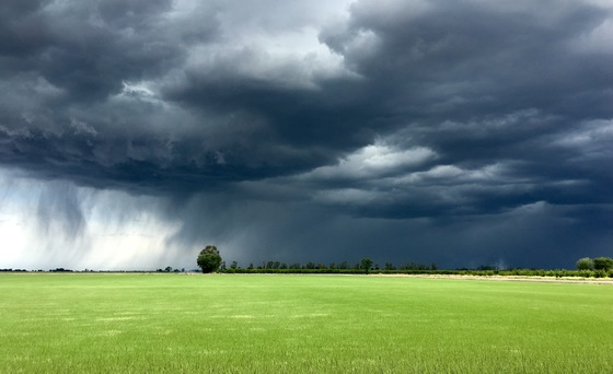 Storm cell over Live Oak California and Gridley