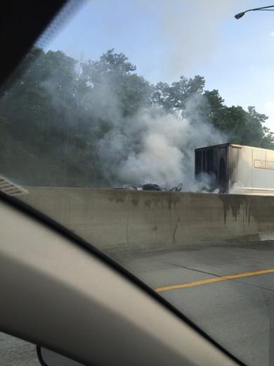 Semi truck fire on 75N
