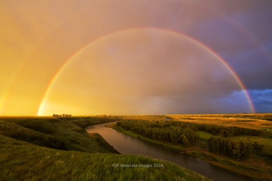 Red Rainbow over the Bow River