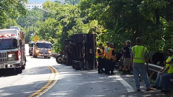 Overturned tractor trailer on York Rd