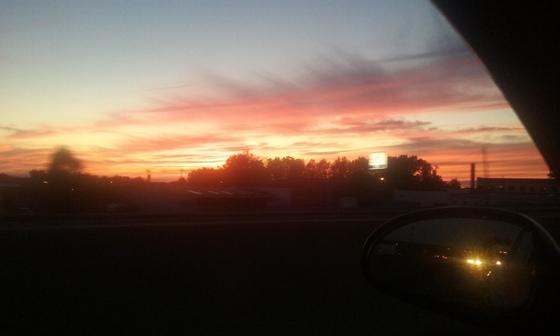 Sunset on highway 52 in winston