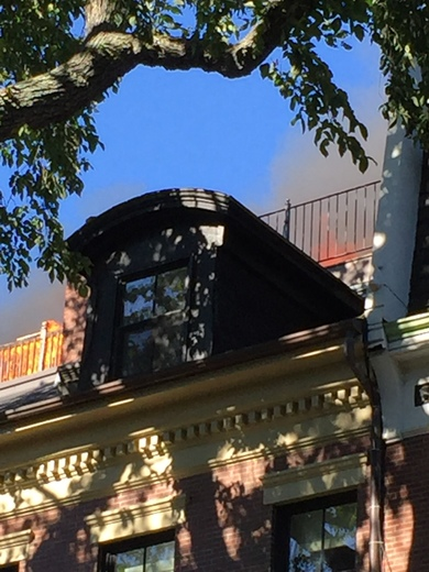 Roof deck fire on 71 Rutland St South End