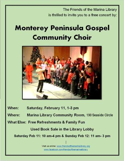 Monterey Peninsula Gospel Community Choir performs at Marina LIbrary Sat Feb 11