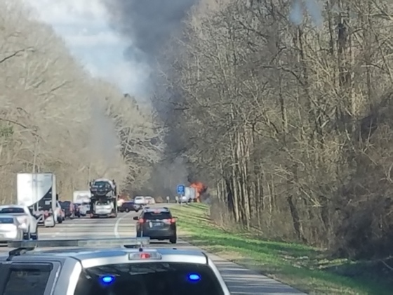 Truck fire @ Vicksburg east bound just passed the scale