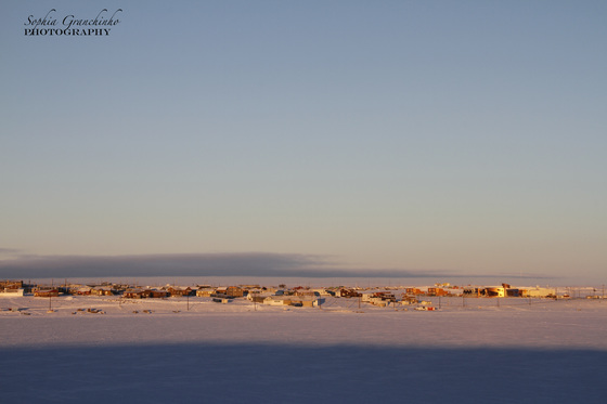 Early morning winter sunrise over Cambridge Bay, Nunavut