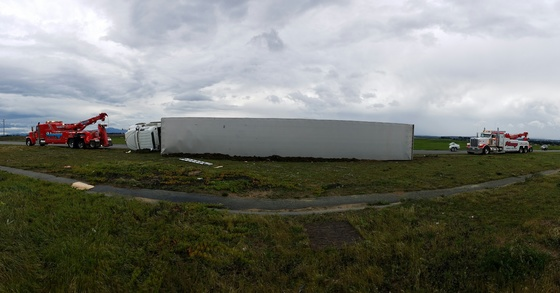 Big Rigs Flipped over on Hwy 1 North of Reservation Rd