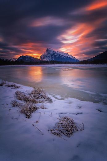 """""""Fire and Ice"""" Mount Rundle at sunrise in the Vermillion Lakes"""