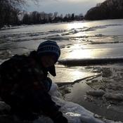 coucher de soleil sur fonte des glaces