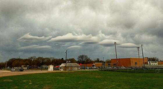 4/18/17 ~ weird clouds hovering over our elementary school!
