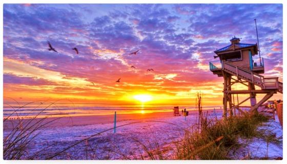 Beautiful colorful sunrise in New Smyrna Beach