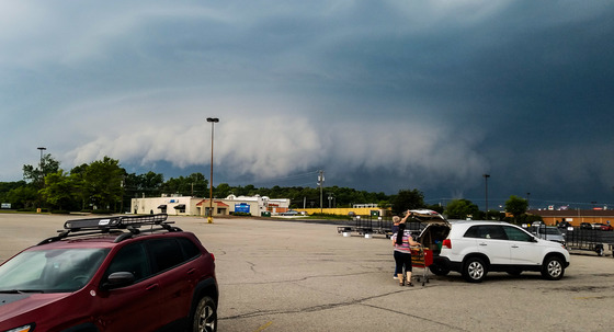 Thursday's storm seen from Tractor Supply parking lot in Eden, looking Northeast