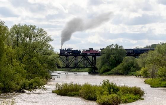 Engine #9 crossing the Conestoga River