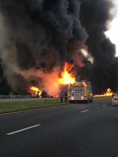 Fiery crash on I-85