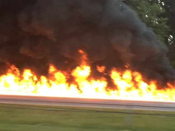 Fiery crash on I-85