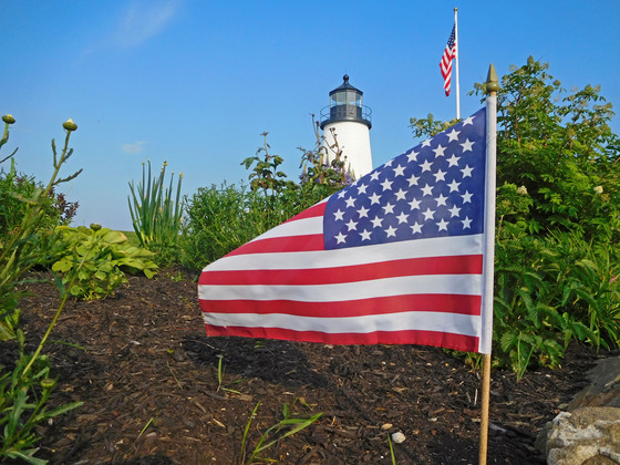Flag Day at the Pemaquid Point Lighthouse in South Bristol, Maine
