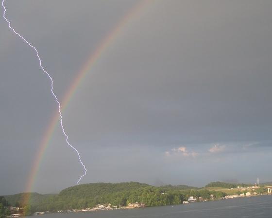 Lightning/rainbow photo
