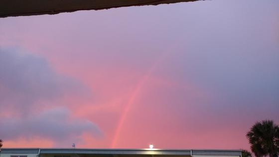 Lovely sky with rainbow