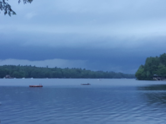 Watching the thunderstorm from Highland Lake