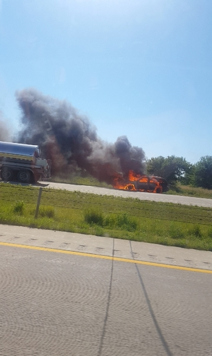 Car fire on I35 South North of Ellsworth