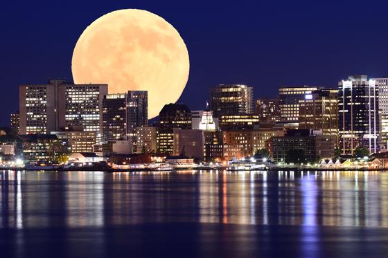 Halifax Skyline & Moon Composite