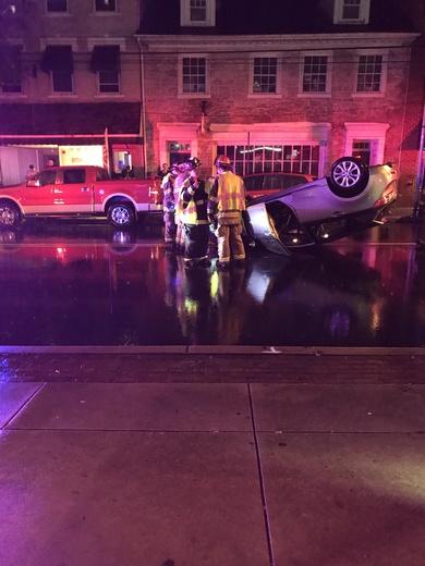 Car flipped over in Elizabethtown last night
