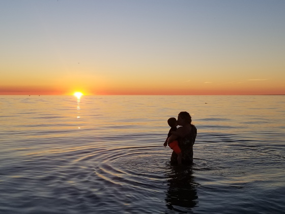 Lake Michigan sunset embrace