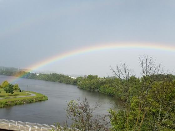 Rainbow over Milwaukee river