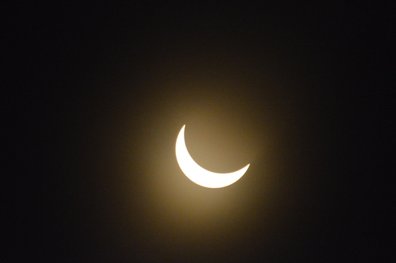 Solar Eclispe 7 Miles East of Salem on a Country Road with about 100 + People